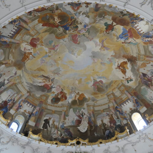 Ceiling fresco at Bruchsal Palace.