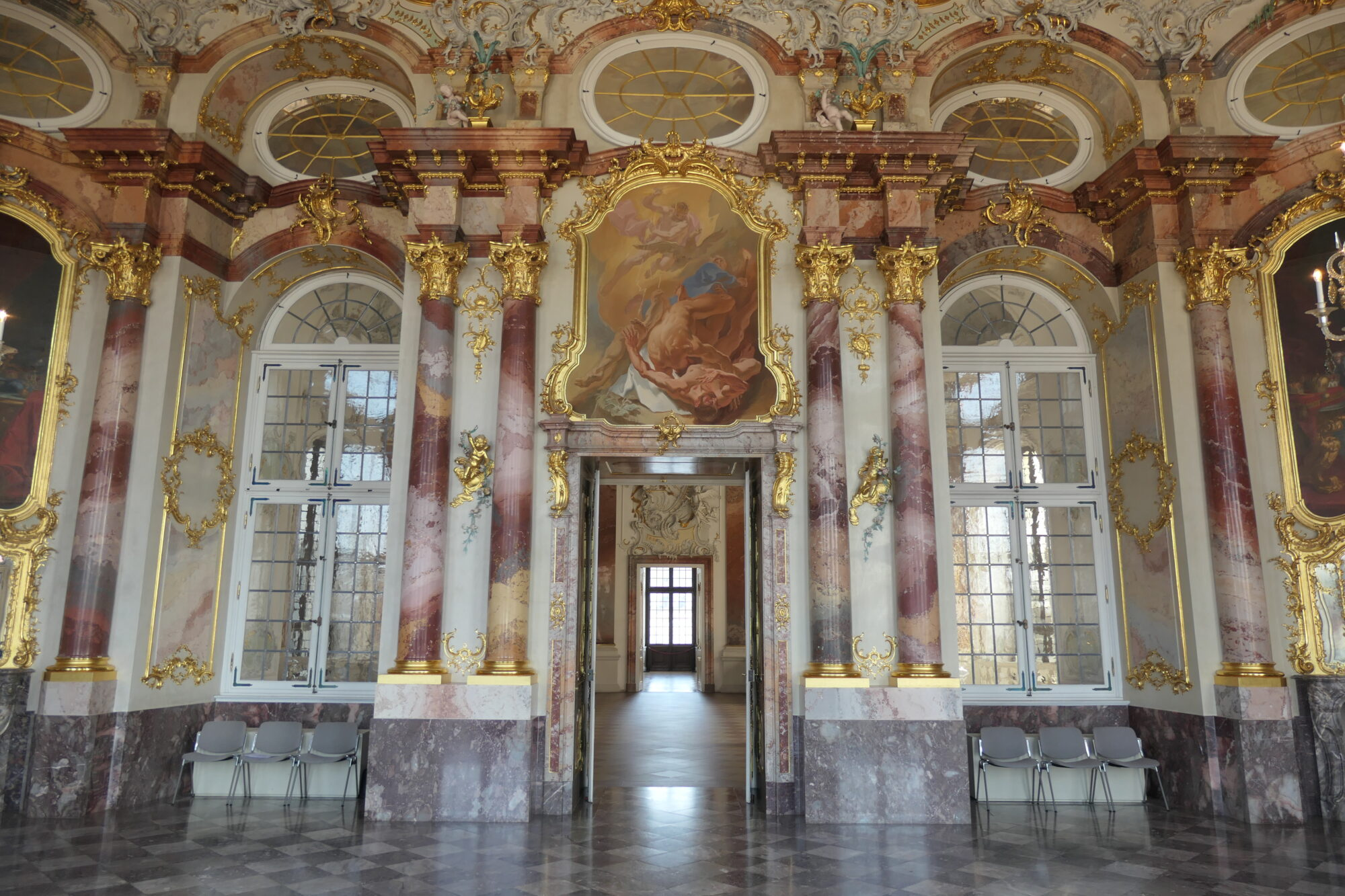 The marble hall at Bruchsal Palace.