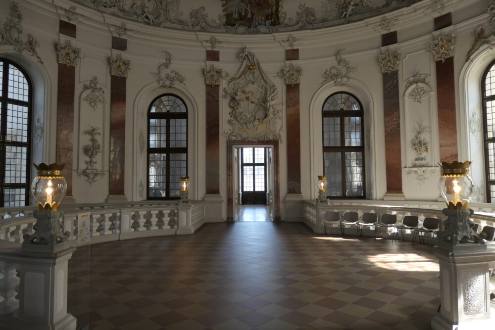 At the end of the stairway at Bruchsal Palace.