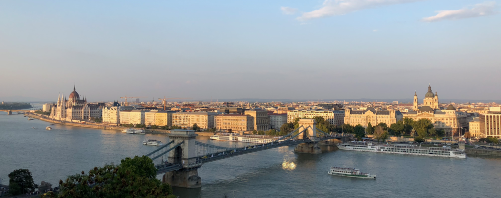 Budapest Gellert Hill Evening Panorama