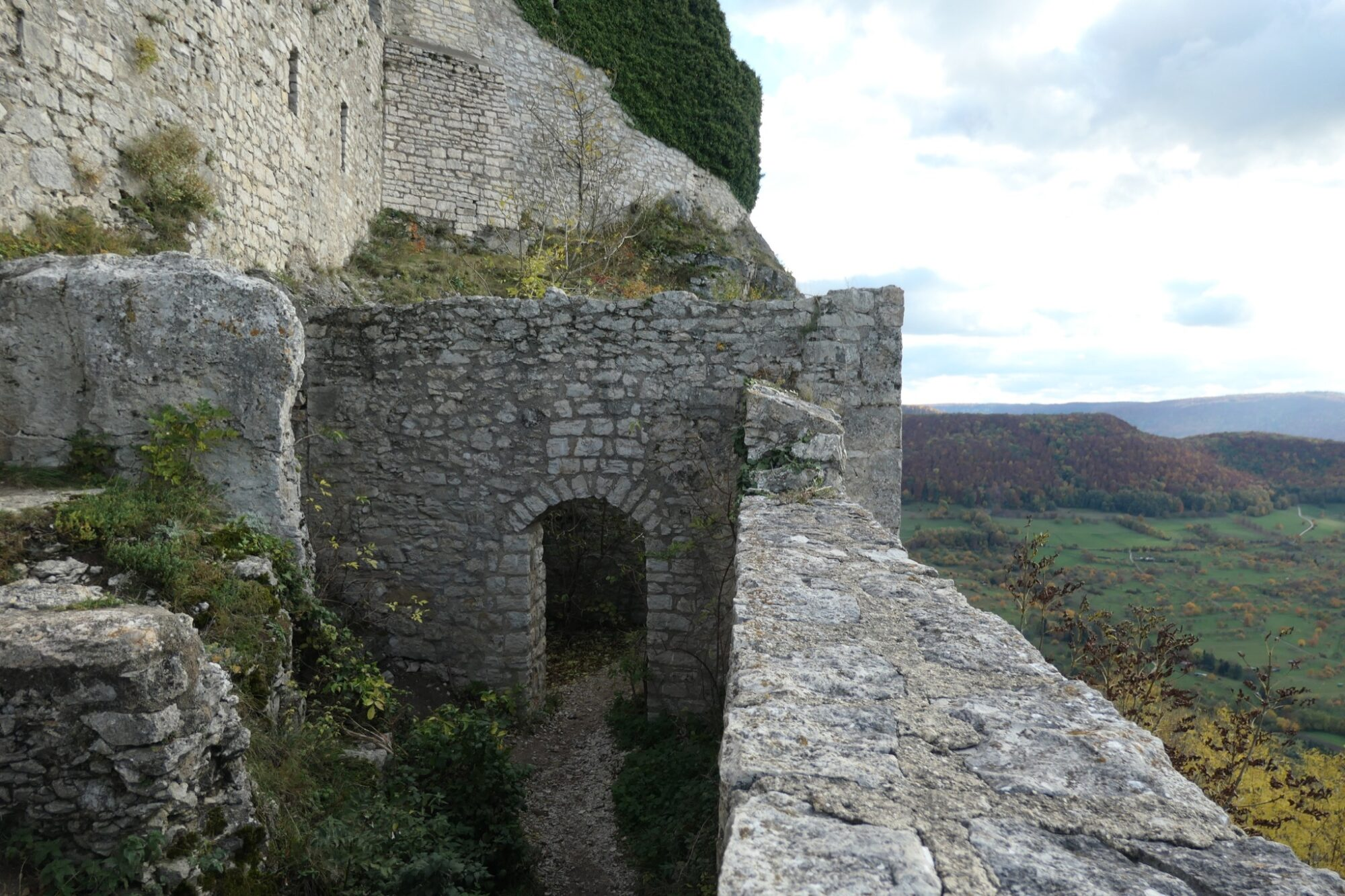 Remaining of a house at the outer bailey at the ruined castle Hohenneuffen.