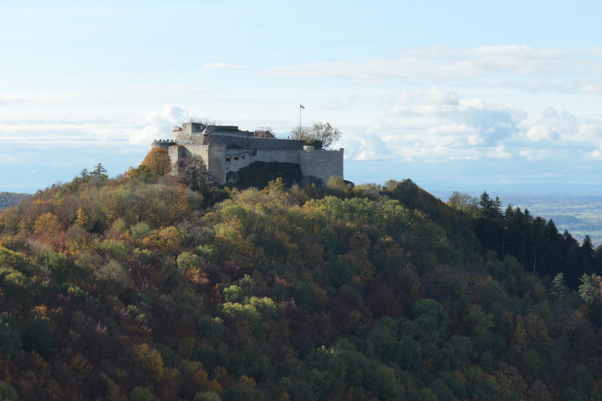 The ruined castle Hohenneuffen seen from Wilhelmsfels.