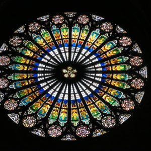 Stained window from inside Strasbourg Cathedral.