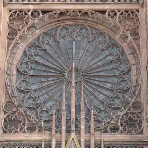 Stained window from the outside.