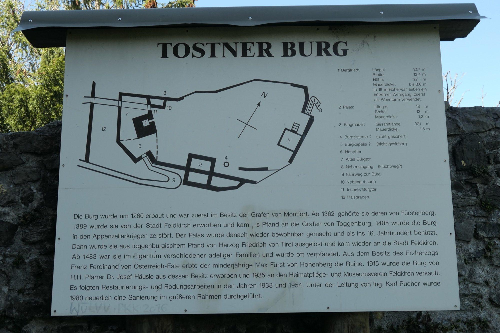 Map of the castle ruin in Feldkirch Tosters