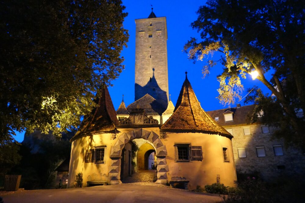 One of Rothenburg's city gates at night.