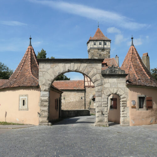 One of Rothenburg's city gates with Röderturm in the background.