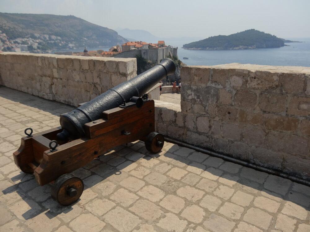A decorative cannon at fort Cannon Lovrijenac
