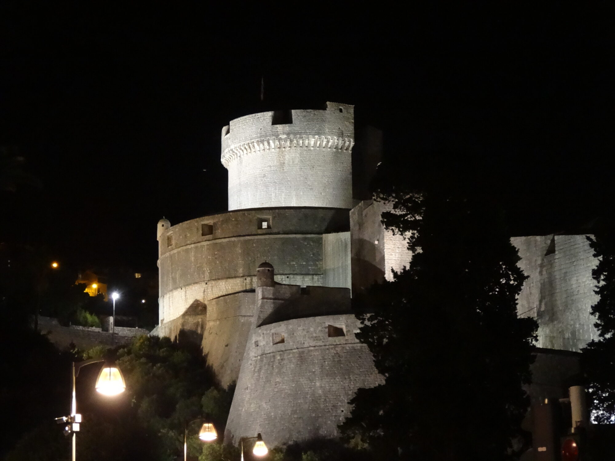 Dubrovnik City Walls At Night