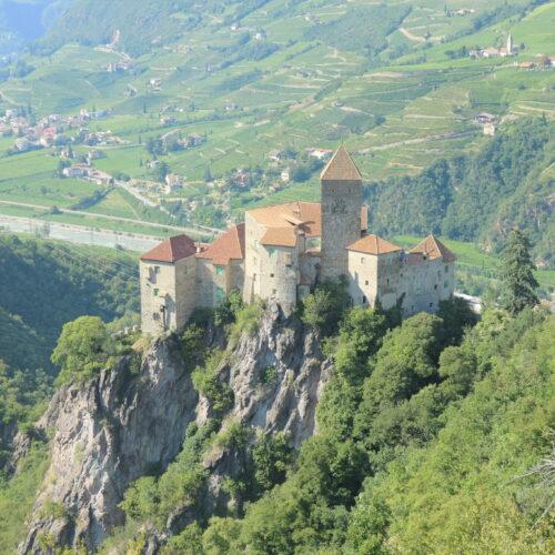 Karneid Castle seen from the vineyard.