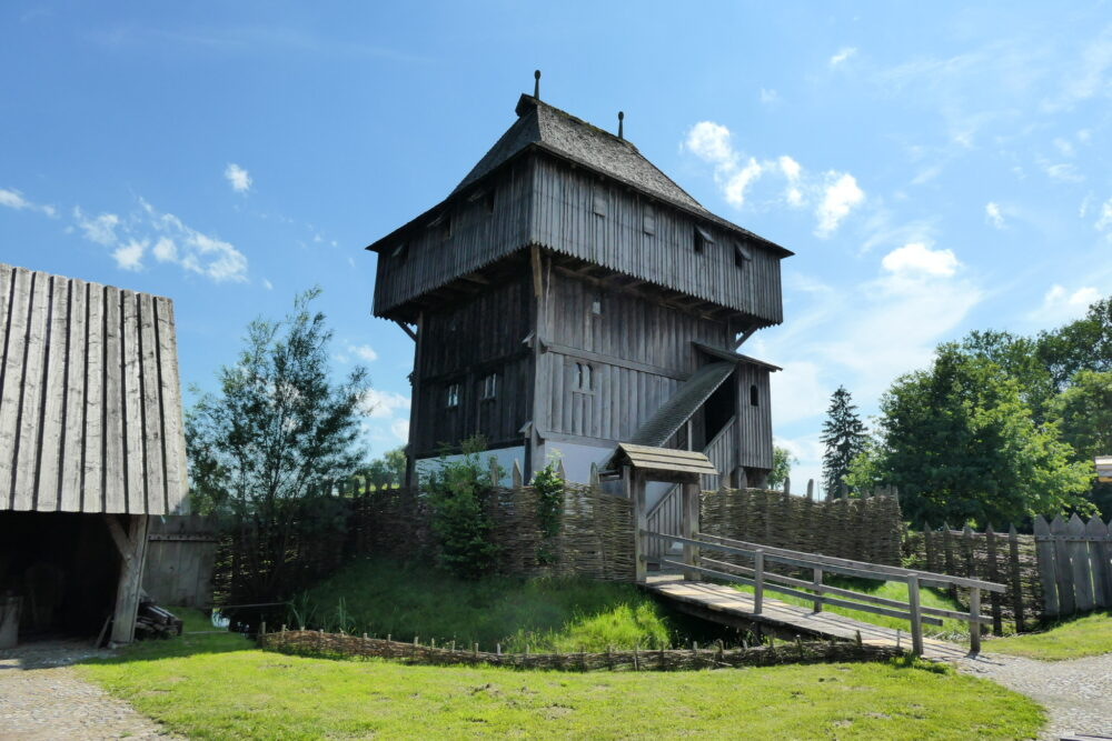 Keep of the timber castle in Kanzach.